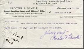 Proctor Gamble letterhead 1880