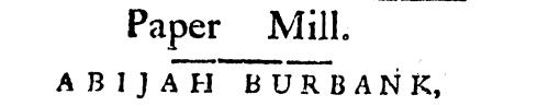 1776 Abijah Burbank Ad
